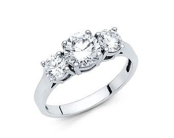 14k Solid White Gold Diamond Engagement Ring 2.0 Ct Three Stone Round Cut