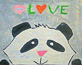 Panda Folk Art Happy Art Kids Art 8.5 x11 Acrylic Paint on Paper Original
