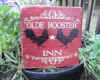 primitive country rooster sign, kitchen decor, wood sign, red rooster, primitive home decor, kitchen decor, rustic home decor, country home
