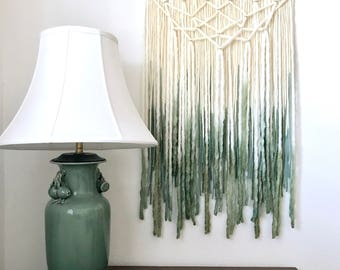 Green and Gold Yarn Wallhanging, Bohemian tapestry, dip-dyed fiber art