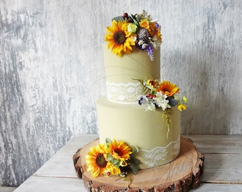 Sunflower wedding cake toppers Rustic Wedding flowers artificial decorations two tier cake Baby shower Anniversary