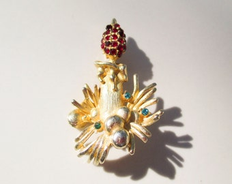 Christmas Gold Candle Stick Ruby and Emerald Brooch Pin Vintage xmas jewelry
