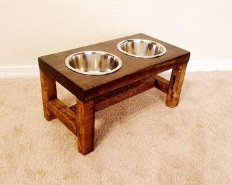 Dog Bowl Feeder - Medium Dog Feeder - Farmhouse Style - Rustic Dog Bowl - Raised Dog Bowl Feeder - Elevated Dog Feeder - Medium Dog Bowl