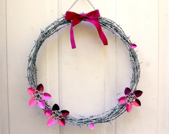 A Wreath of Barbed Wire in Fuschia