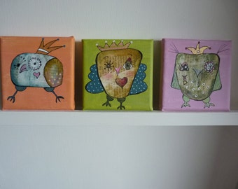 Three beautiful, funny owl paintings on canvas (10 x 10 cm)