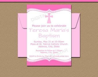 Baptism Invitation Girl - Pink Baptism Invitation - EDITABLE Pink Christening Invite - Baptism Printable - Religious Invitation Download I1