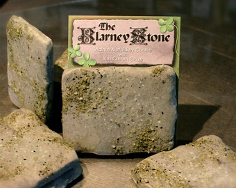 """St. Patrick's Day party cookies delivered; Six Whiskey & Walnut """"Blarney Stone"""" Cookies with an Irish Cream Glaze, individually packaged"""