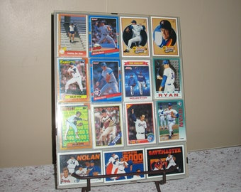 Nolan Ryan Baseball Trading Cards, Framed Lot of 15