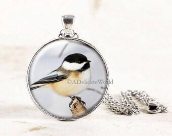 Chickadee Necklace Silver, Chickadee Bird Jewelry Pendant, Silver Chickadee Jewelry, Winter Bird Necklace, Silver Bird Jewelry
