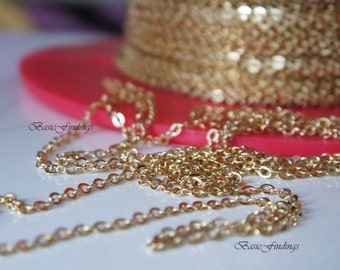 10 Meters, Cable Chain 235SF, 16k Gold Plated Brass Chain,  Basic Fashion Jewelry Chain, Quality Chain,