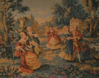 lovely romantic French tapestry, 1900