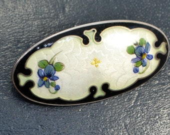 Vintage 925S Silver & ENAMEL Norway Enamel VIOLETS Flowers Brooch - by OF Hjortdahl