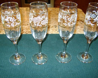 Set of 4 Pasabahce Turkey Circle of Art Glass Stemware Wedding Gift Glasses - Wedding Glasses - Champagne Glasses
