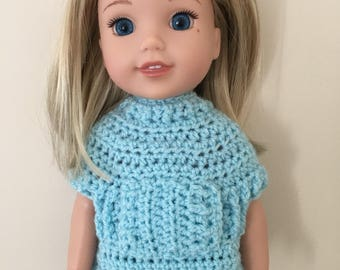 "Pale turquiose 14.5"" doll sweater. For dolls such as American Girl Wellie Wishers. Dolls clothes. Doll top. Handmade, crocheted"