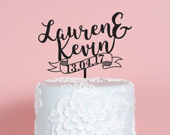Ribbon with Name and Date Wedding Cake Topper