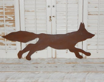Rusty Metal Fox Wall Art Rustic Log Cabin Decor Country Home Decor