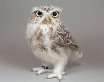 Little Owl realistic fibre art crochet bird sculpture