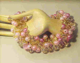 Glass Pearls-Beaded Bracelet-''It's a Tickled Pink Sort of Day''-Pink Glass Beads/Pearls--Faceted Glass Beads-Adorable