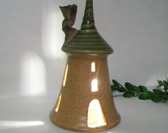 Tower, Fairy House - Night Light - Handmade, Wheel Thrown