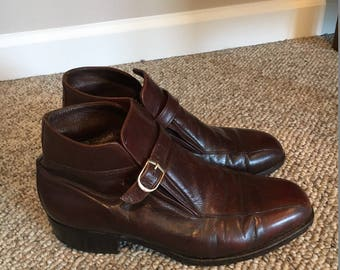 Vintage Florsheim Imperial Brown Leather Monk strap Ankle Motorcycle Boots Size 7/