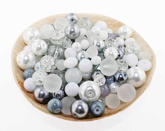 Glass Bead Mix Assorted 25 Winter Color Combination 6mm to 12mm - BMX012