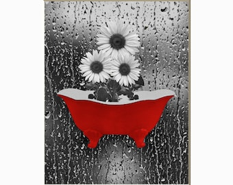 Sunflower Wall Decor, Bathroom Wall Decor, Red Gray Home Decor Matted Artwork