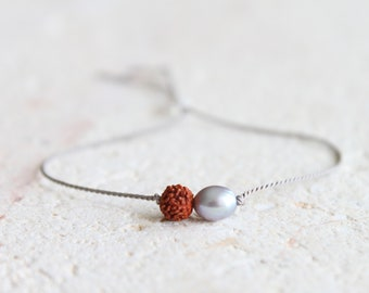 Protection Rudraksha and pearl bracelet / grey pearl / dainty silk cord bracelet / spiritual bracelet