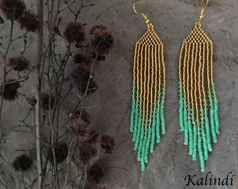 Gold and Green Earrings Unique earrings Seed bead fringe earrings Beaded jewelry Long colorful earrings Boho long dangle earrings Beadwork