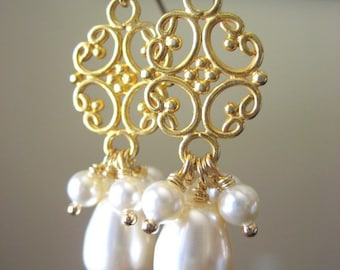 Sway With Me...Swarovski Pearls and Chandelier Earrings...Gold-filled...FREE SHIPPING