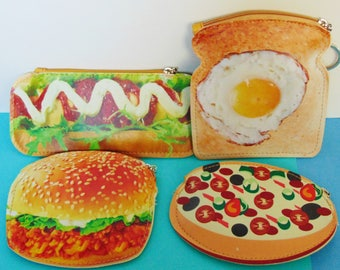 Super Cute Food Shaped Coin Purses...Hot Dog, Chicken Burger, Pizza, Sunnyside Up Egg with toast