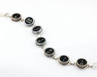 Typewriter Key Bracelet with Random Black Keys, Authentic Typewriter Keys
