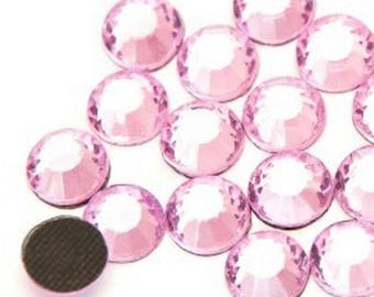 Rhinestone, fusible, rhinestones fusible pink 4mm - 15 rhinestone bag