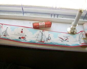 Vintage 1940s Wallpaper Border Nautical Scene Dex Brand Regatta Unused Wall Paper