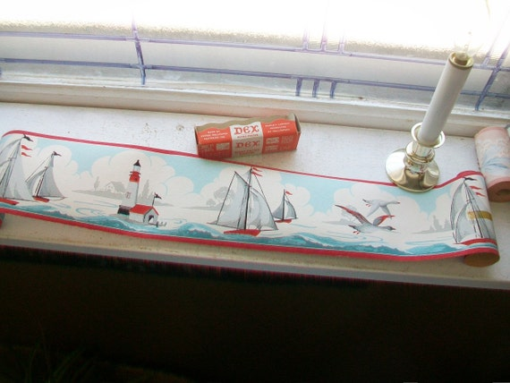 Vintage 1940s Wallpaper Border Nautical Scene Dex Brand Regatta Unused Wall Paper
