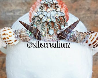 Small Mermaid Crowns childs crown shell crown seashell headpiece baby mermaid crown baby shell headband childs seashell crown