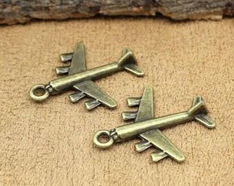 25pcs Airplane Charms, Antique Bronze Aircraft Plane Charm Pendants 28x22mm C2080-T