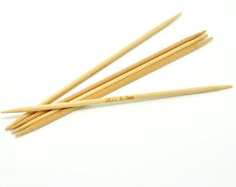 "50 pcs. Natural Bamboo Double Pointed DP Knitting Needles - 5.1"" - 13cm - UK Size 11 - 3mm"