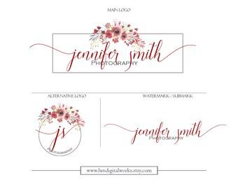 Red Wildflower Logo Watermark Branding Kit Package - design no. 110 - red pink rose grey black floral