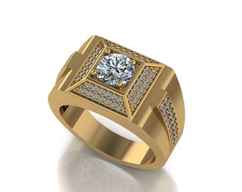 1.04CT Men's Center Stone Signet  Ring  With 14K Yellow Gold M-MRG1004