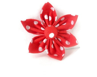 Burnt Reddish Orange Polka Dot Dog/Cat Collar Flower Bow