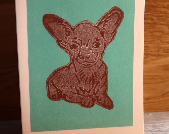 Chihuahua Greeting Card, Blank inside, Hand printed & paper cut on to green background, love dogs, pooch, fur baby, pet, woof, Birthday.