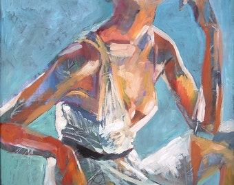 Woman Wearing a White Dress, Orange and Turquoise - Fine Art Print - Pensive -