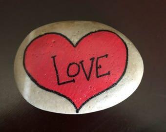 Love - heart painted rock