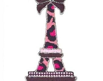 patch fusible Paris Eiffel Tower pink leopard