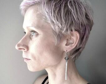 Oxidized Sterling Silver Earrings - Hammered Sterling Silver, Metallic Crystal Earrings, Modern Minimalist Long Sexy Hammered Earrings