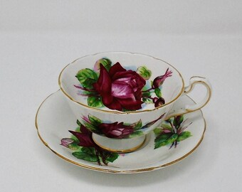 Vintage English Bone China Paragon Wide Brimmed Pink Roses Cup & Saucer