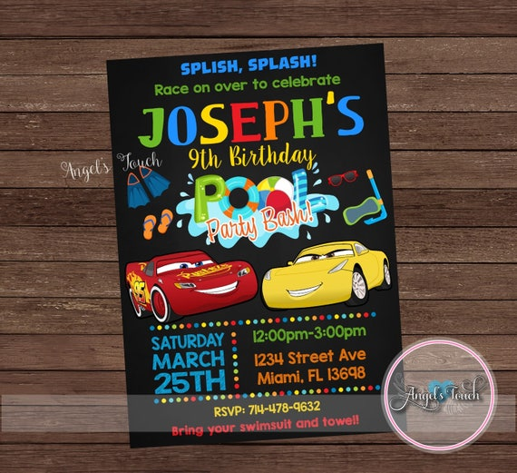 Cars Pool Party Invitation Disney Cars Birthday Invitation Cars