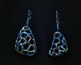 Long Earrings Different Earring Web Earrings Branch Earrings Asymmetrical Earrings Mismatched Earrings Asymmetrical Jewelry Bohemian Jewelry