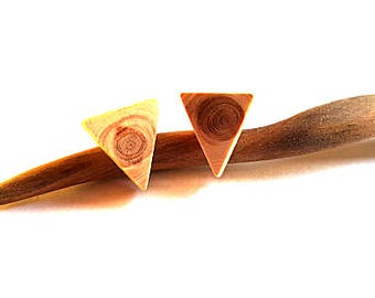 Juniper wood post earrings, natural wood earrings, wood stud earrings, wood gauges