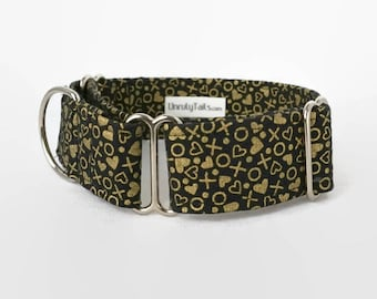 Gold Hugs & Kisses Adjustable Dog Collar - Martingale Collar or Side Release Buckle Collar - Metallic gold hearts, Xs and Os on Black